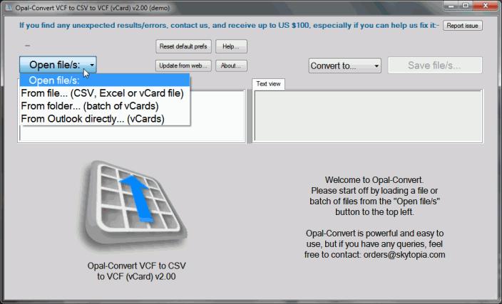 Opal-Convert CSV/VCF/Excel/vCard Documentation