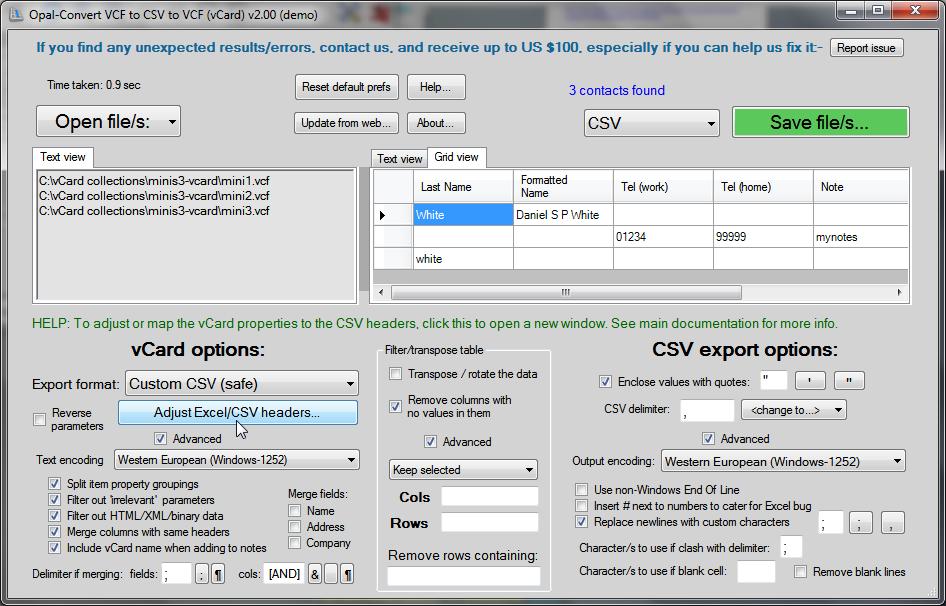 convert vcf to csv online free