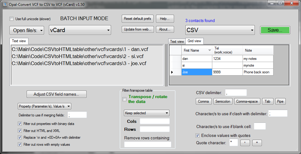 Opal convert vcard to excel to vcard