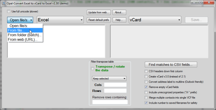 Opal-Convert vCard to Excel to vCard